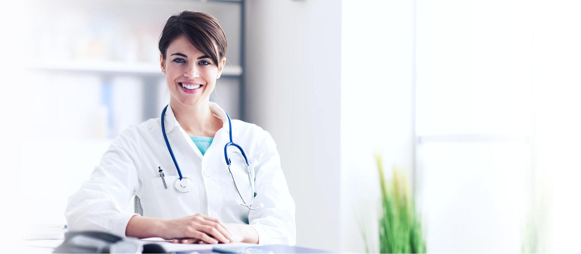 attractive nurse smiling